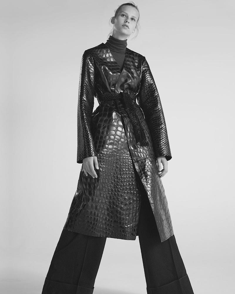 Attico Marla Collarless Crocodile-Effect Leather Coat
