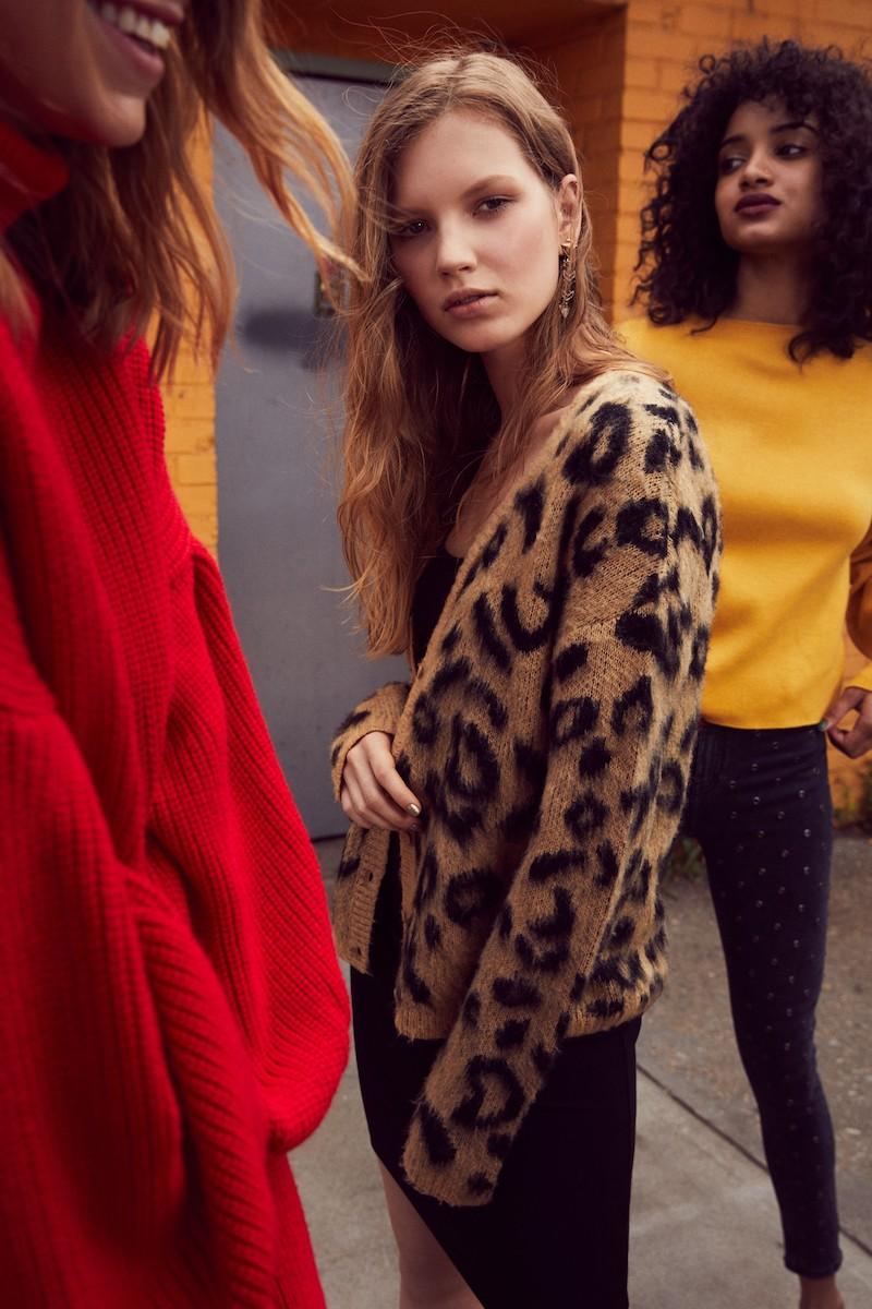 BP. Leopard Print Jacquard Cardigan