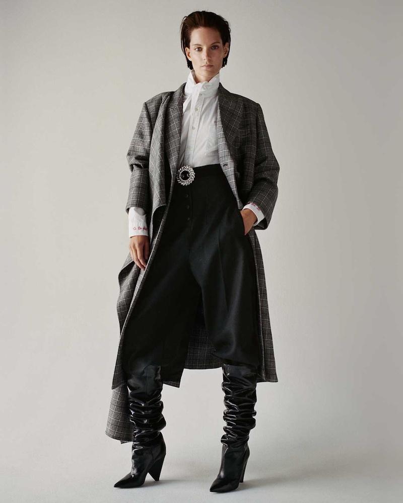 Balenciaga Draped-Front Checked Coat
