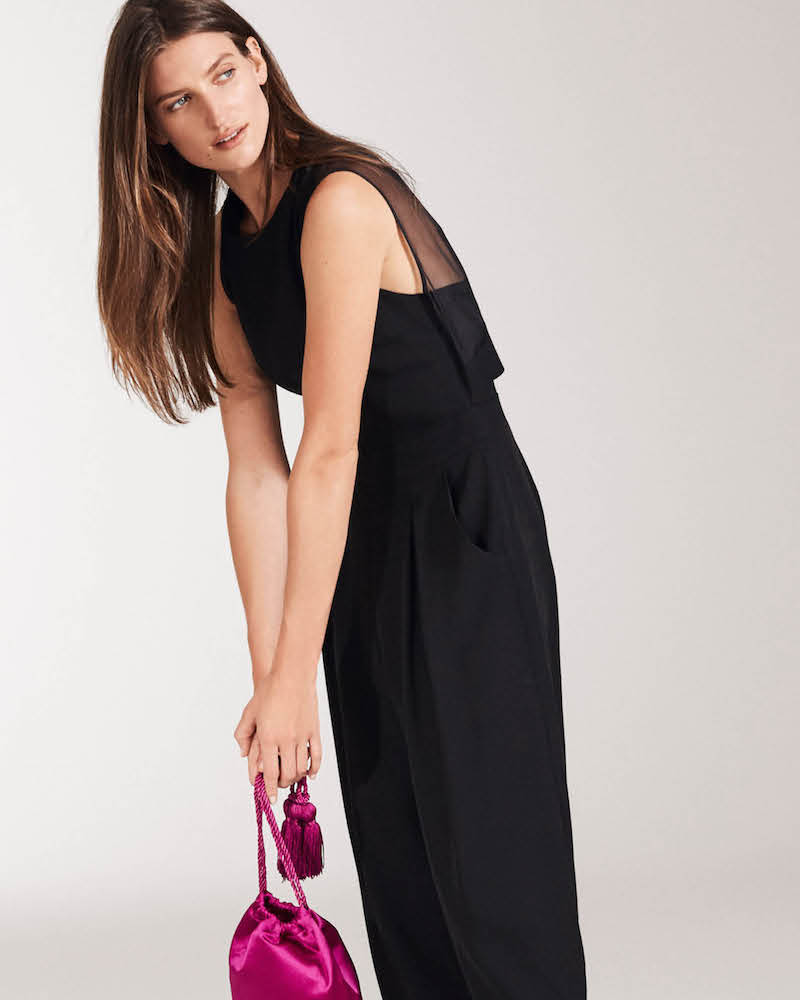 Barneys New York Organza-Back Crepe Jumpsuit