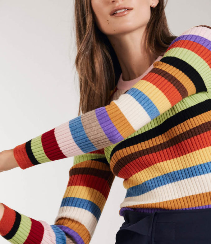 Barneys New York Striped Cashmere Sweater
