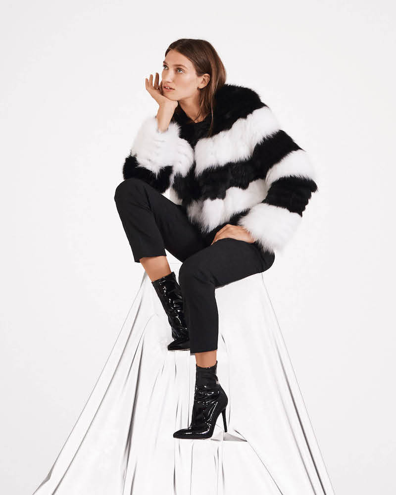 Barneys New York Striped Fox-Fur Jacket