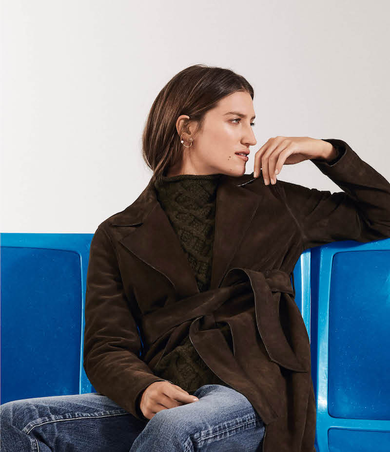 Barneys New York Suede High-Waisted Trench Coat