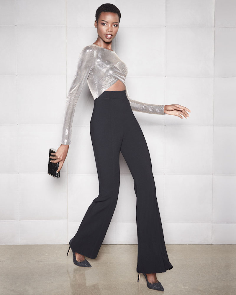 Black Halo Angie Flared-Leg Jumpsuit with Cutout