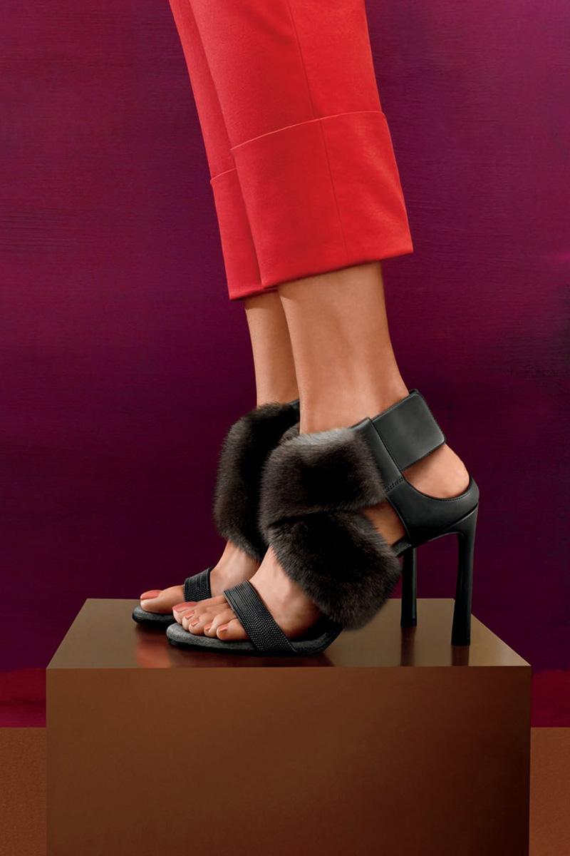 Brunello Cucinelli Mink Fur & Monili 100mm Sandal