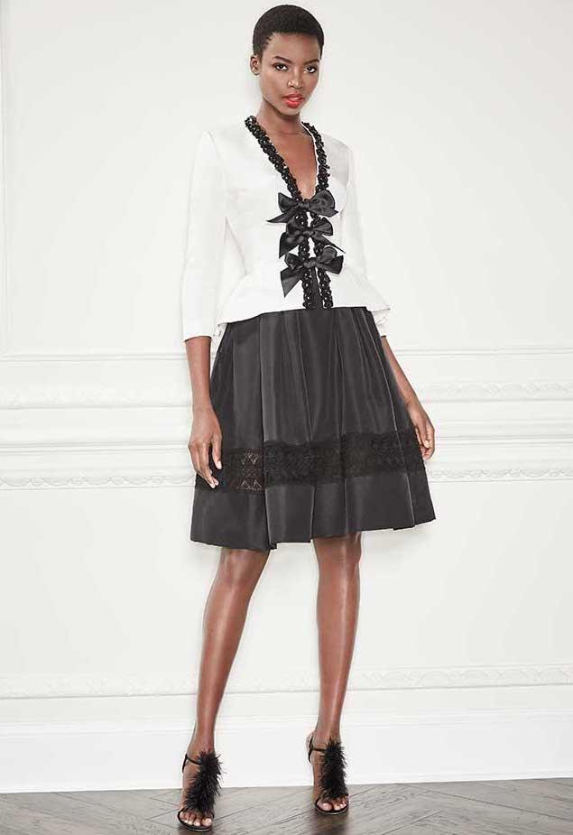 Carolina Herrera Full Silk Taffeta Cocktail Skirt with Lace Inset