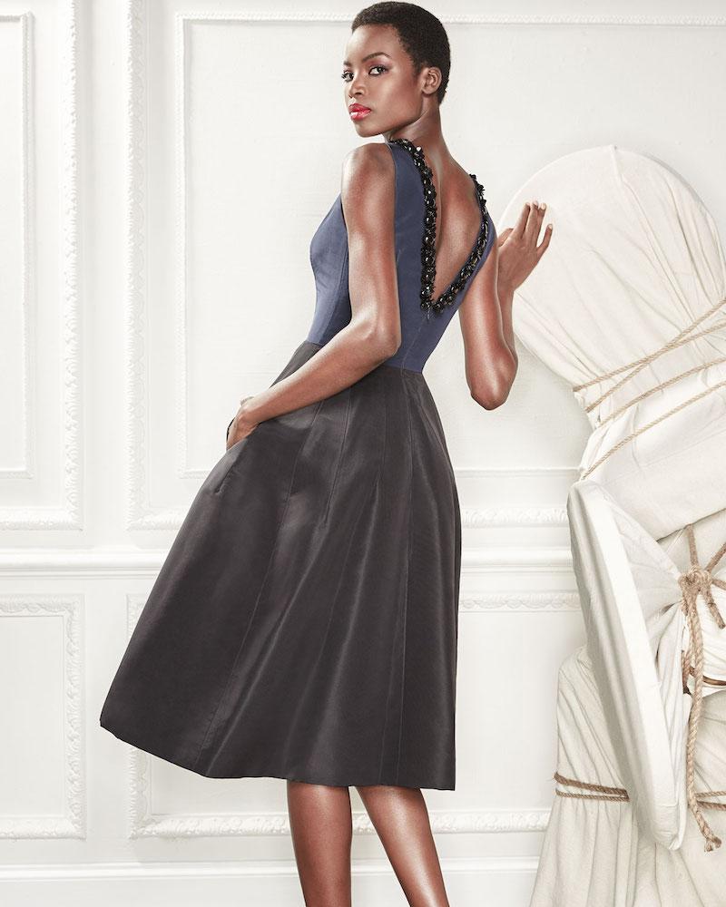 Carolina Herrera Sleeveless High-Neck 2-Tone Cocktail Dress with Embroidery