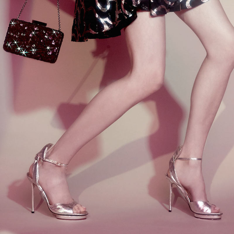 Charlotte Olympia Silver Ankle Strap Sandals