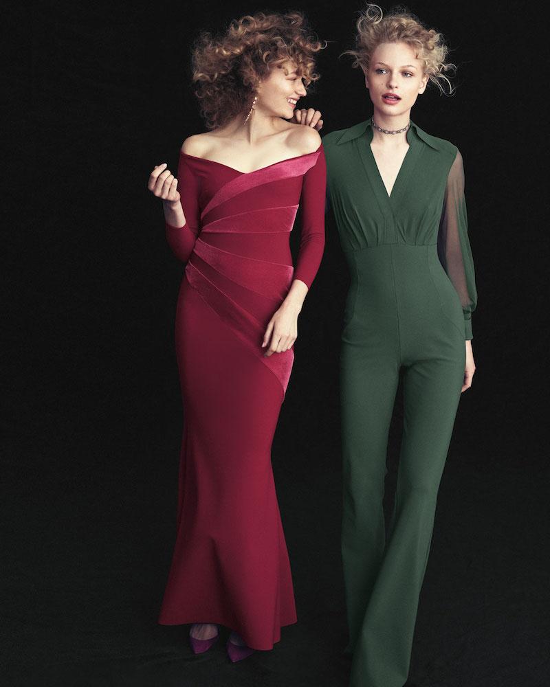 Chiara Boni La Petite Robe Agos Sheer-Sleeve Surplice Flared Jumpsuit