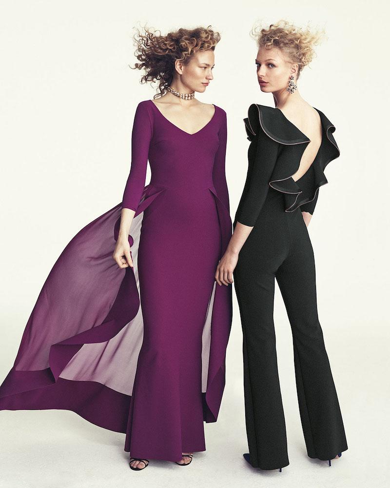 Chiara Boni La Petite Robe Lorelei V-Neck 3:4 Sleeves Evening Gown with Ruffled Overskirt