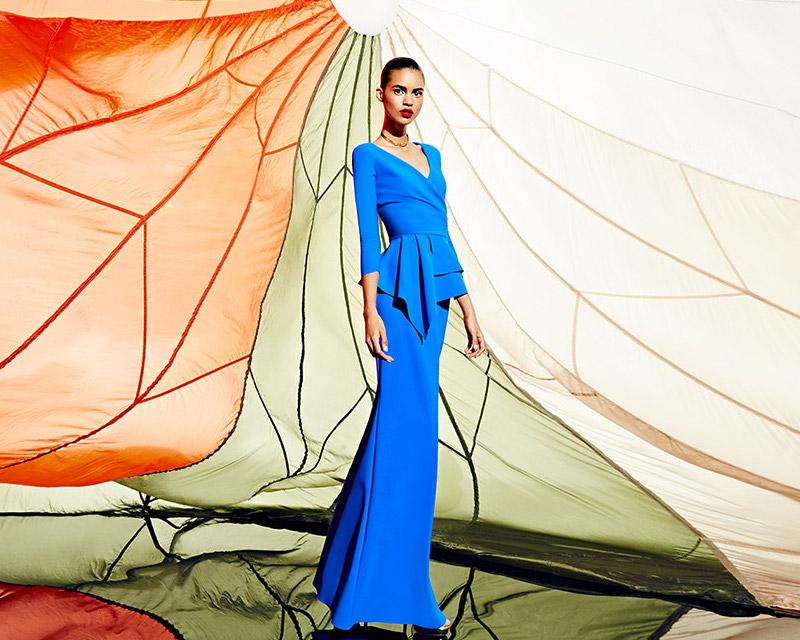 Chiara Boni La Petite Robe Peplum Floor-Length Gown