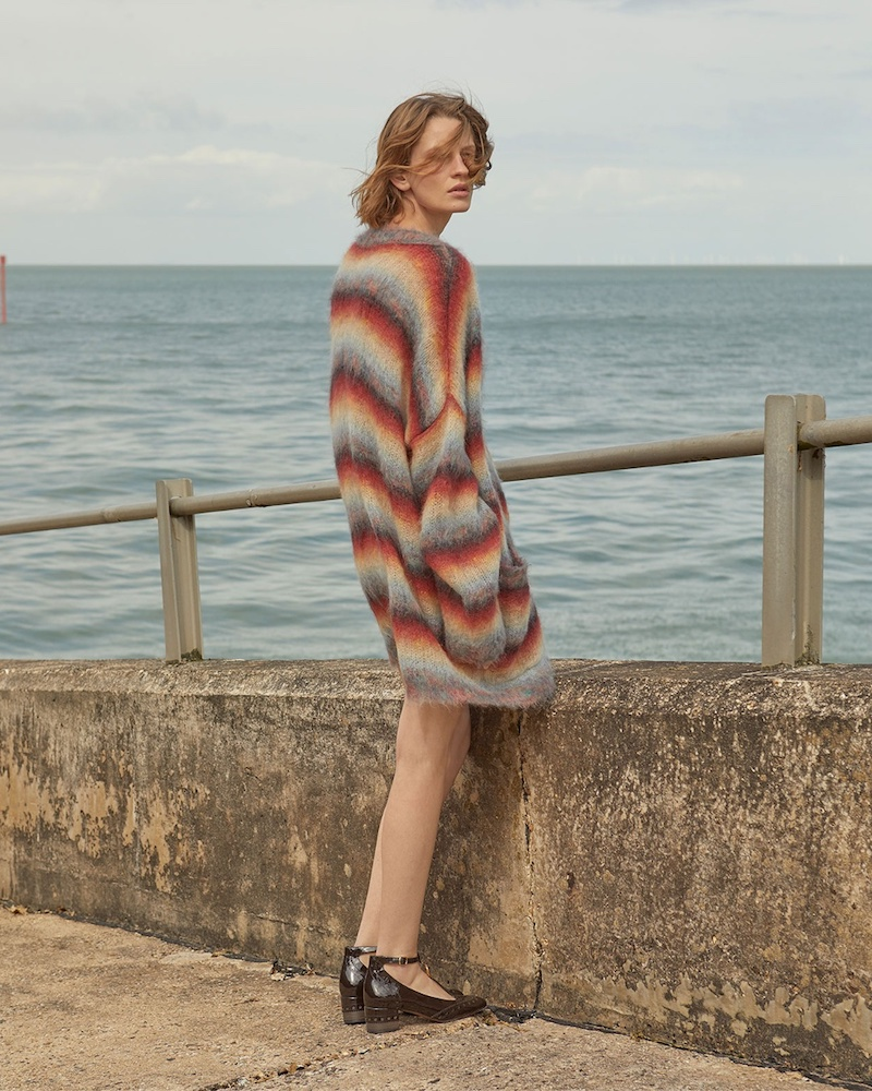 Chloé Oversized Striped Mohair-Blend Knit Cardigan