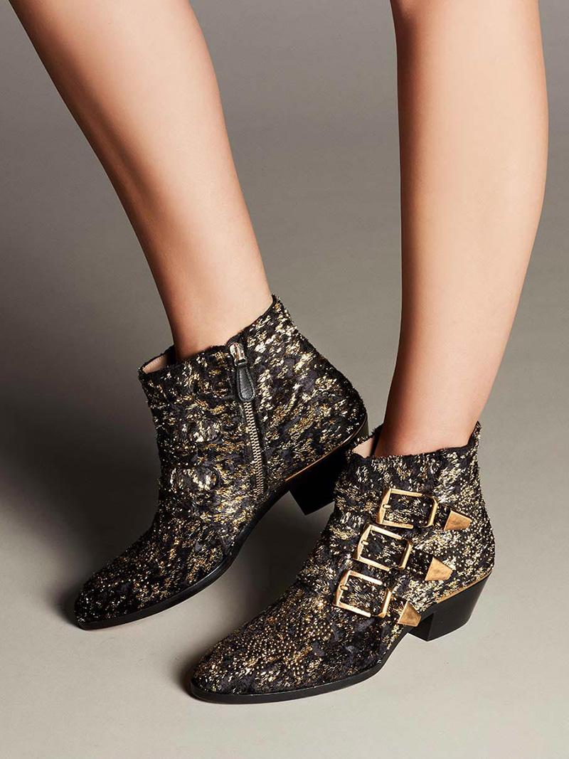 Chloé Susanna 30mm Glittery Velvet Ankle Boot