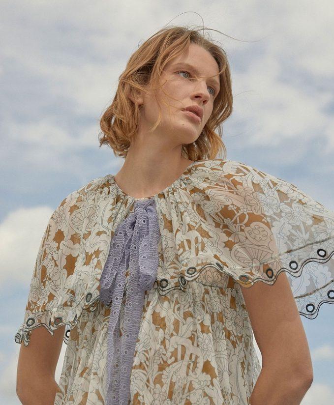 Chloé Wonderland-Print Tiered Mini Dress