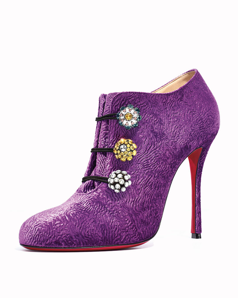 Christian Louboutin Embossed-Velvet Red Sole Bootie