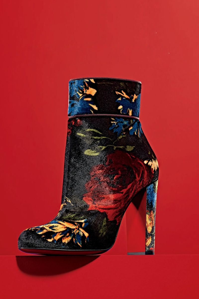 Christian Louboutin Moulamax Bouquet-Print Velvet 85mm Red Sole Bootie