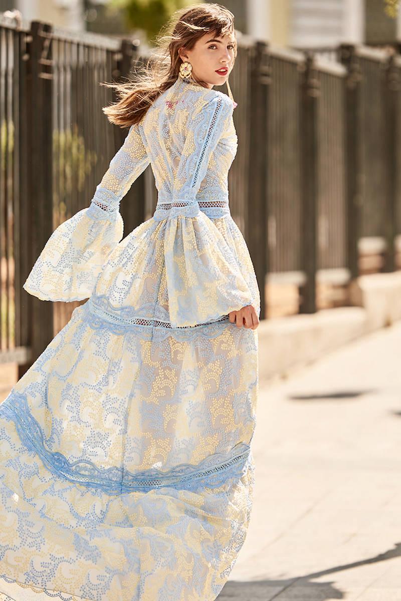 Costarellos Bell Sleeve Tiered Dress
