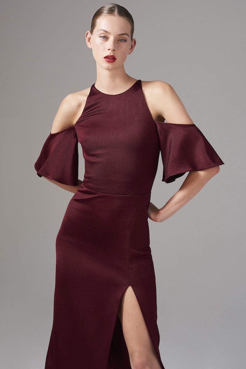 Cushnie et Ochs Flutter Sleeve Cold Shoulder Pencil Dress