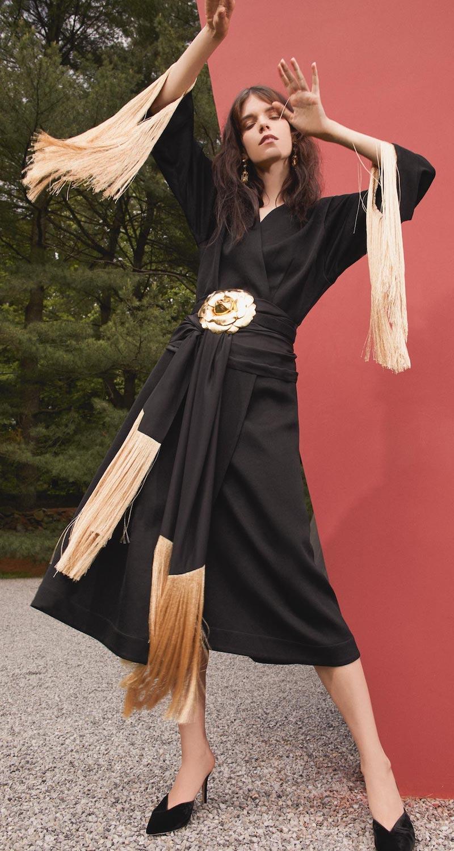 Ellery Ritz Fringe Sleeve Wrap Dress