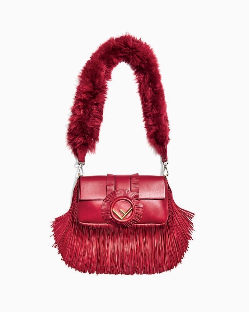 Fendi Baguette Seal Napa Fringe Shoulder Bag