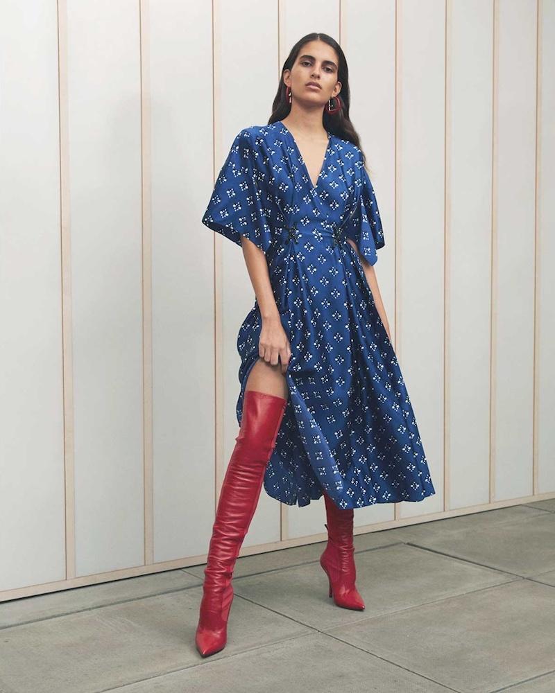 Fendi Drape-Sleeve Geometric-Print Satin Dress