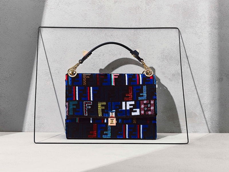 Fendi Kan I Logo-Print Velvet Shoulder Bag
