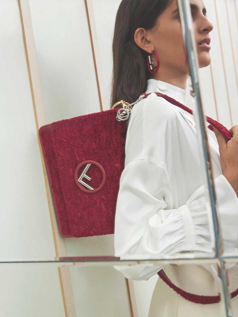 Fendi Kan I Logo Textured-Velvet Shoulder Bag