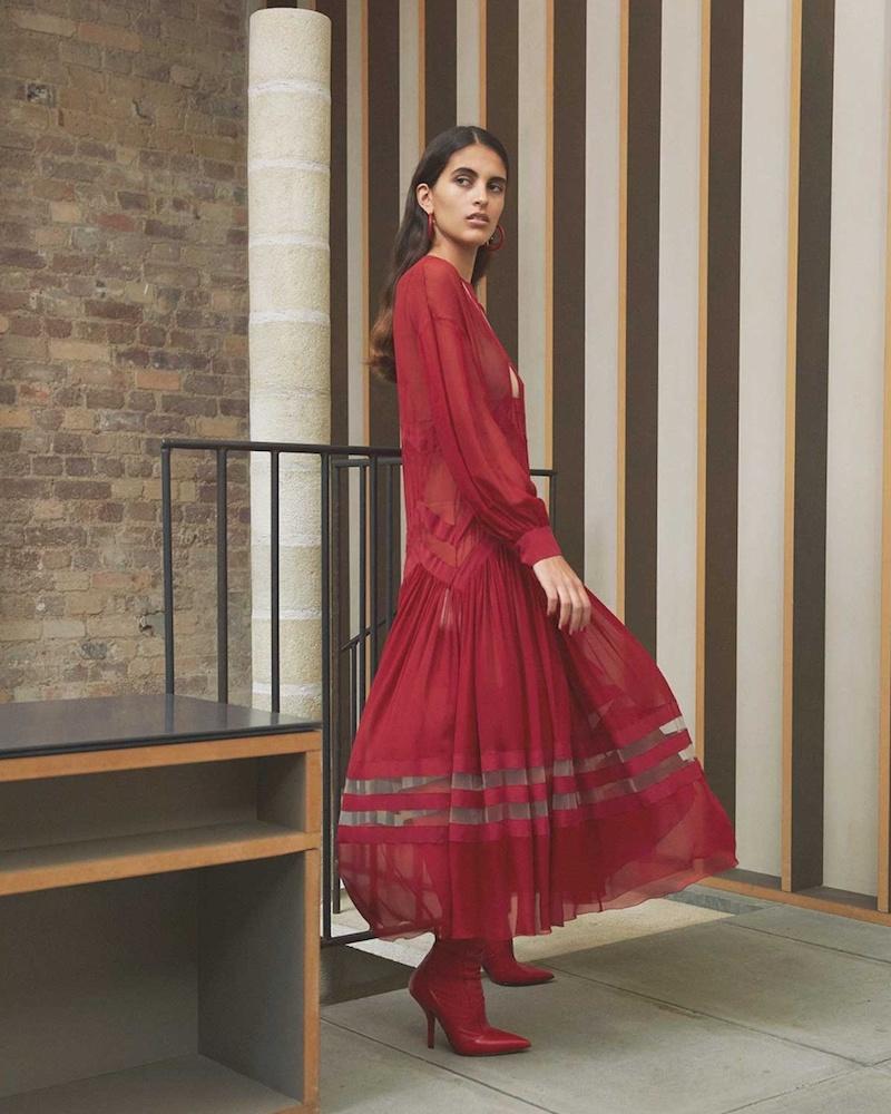 Fendi Sheer-Hem Georgette Dress
