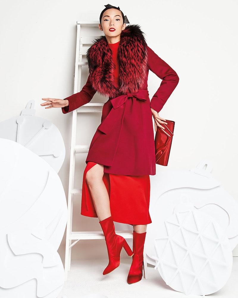 Fleurette Wrap Coat with Fox Collar