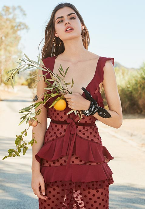 For Love & Lemons Dotty Midi Dress