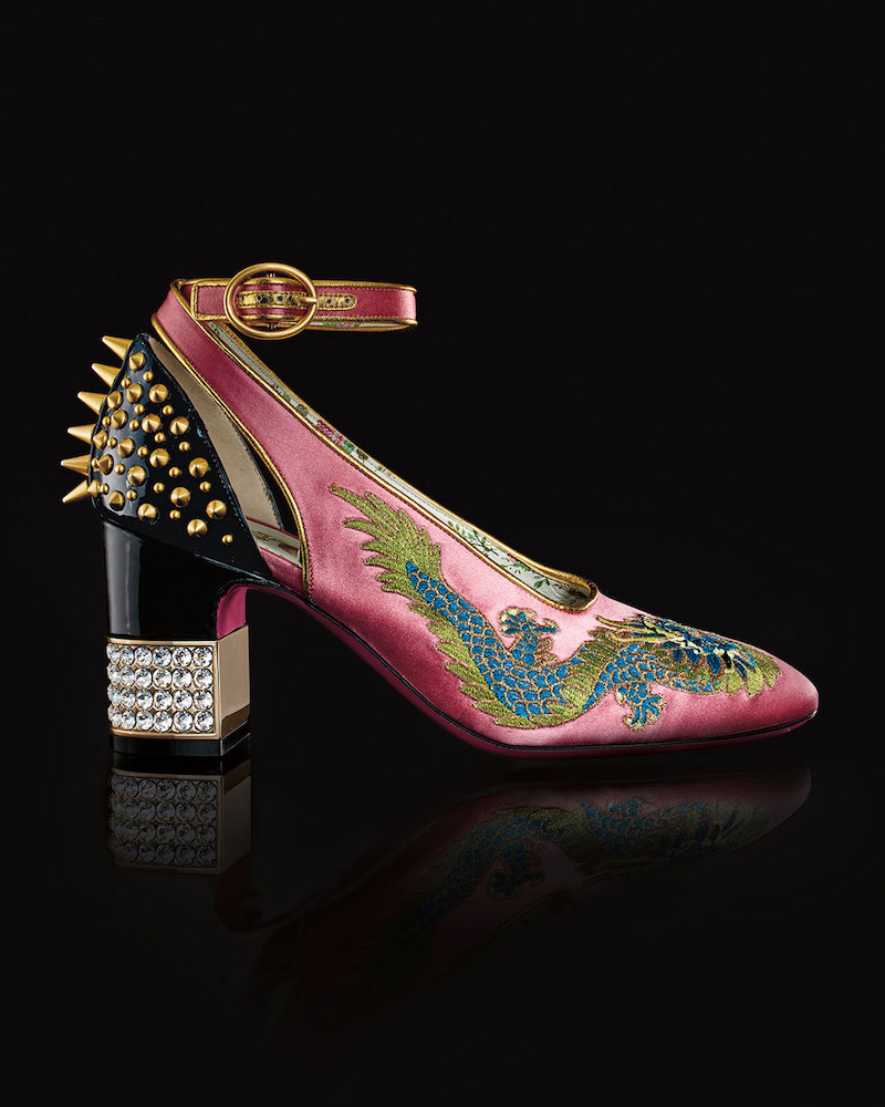 Gucci Caspar Embroidered Satin Ankle-Wrap Pump