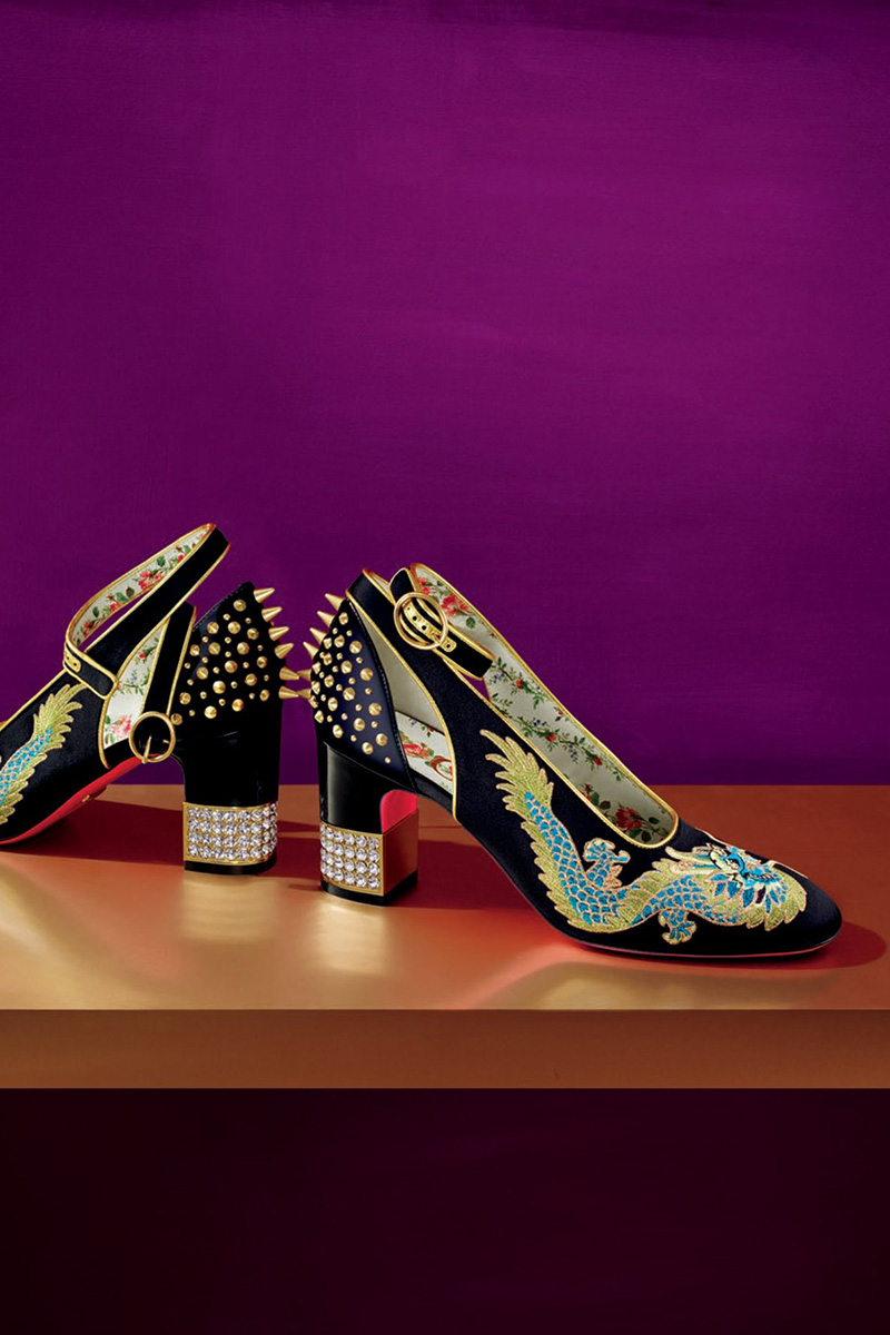 Gucci Embroidered Satin Ankle-Wrap Pump