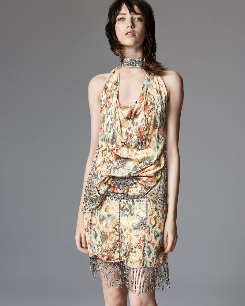 Haute Hippie The Orian Draped Halter Silk Tank with Embellishments