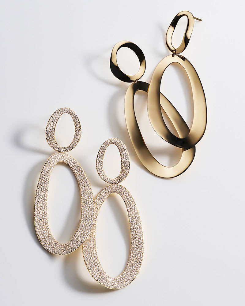 Ippolita Cherish 18K Gold Large Snowman Earrings with Diamonds