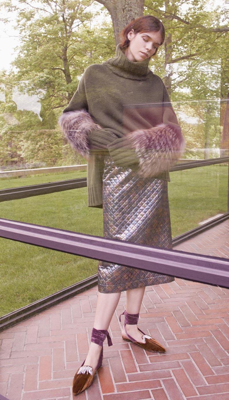 Isa Arfen Quilted Lurex Pencil Skirt