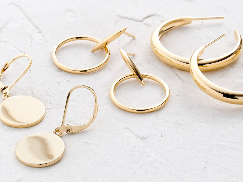 J Crew Demi Fine 14k Gold Plated Drop Hoop Earrings