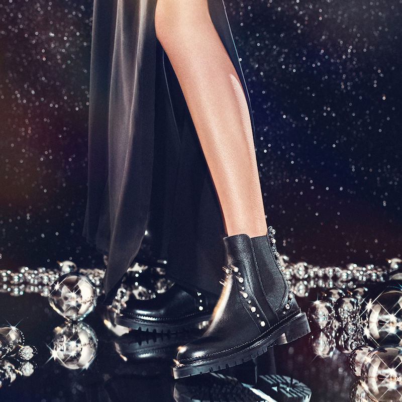 JIMMY CHOO Burrow Flat Black Leather Biker Boots with Beads and Crystals