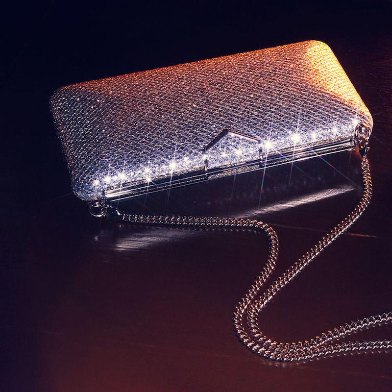 JIMMY CHOO Ellipse Champagne Glitter Fabric Clutch Bag