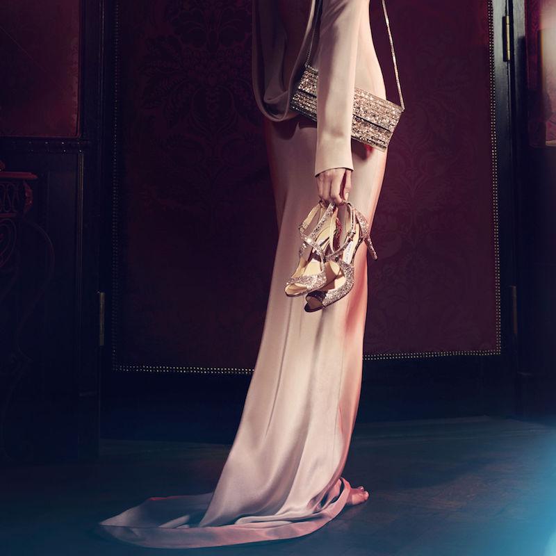 JIMMY CHOO Emily 85 Ballet Pink Shadow Coarse Glitter Fabric Sandals