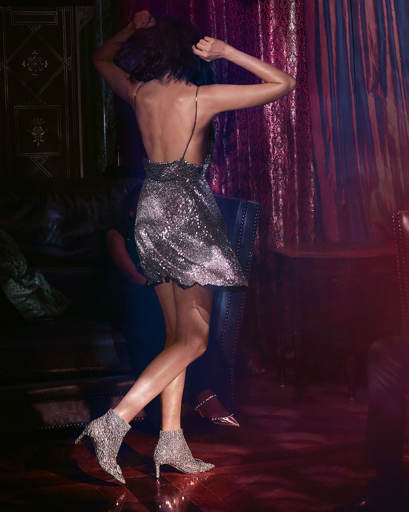 JIMMY CHOO Hanover 65 Chai Shadow Coarse Glitter Fabric Booties with Crystal Buckle