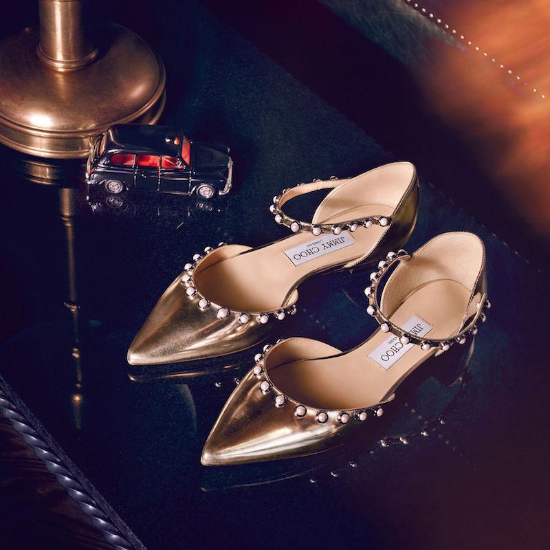 JIMMY CHOO Leema Flat Gold Mirror Leather Flats with Beads