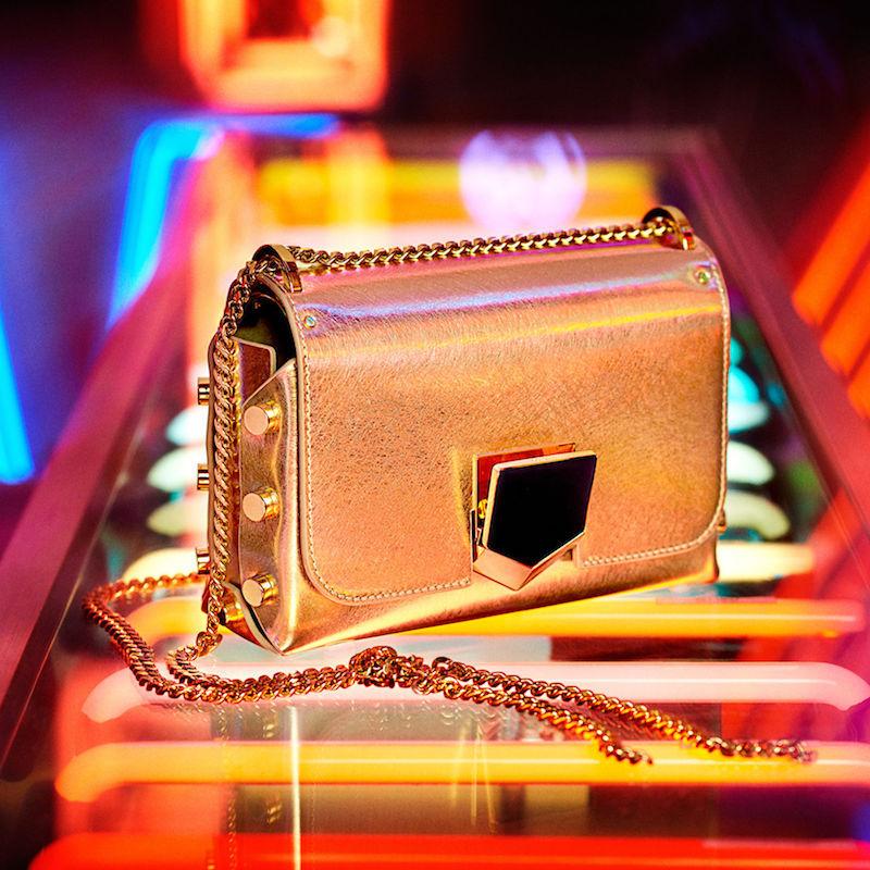 JIMMY CHOO Lockett Mini Gold Etched Metallic Spazzolato Shoulder Bag