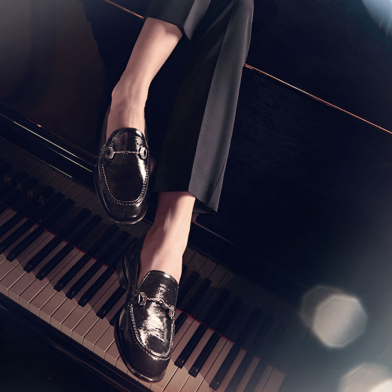 JIMMY CHOO Marti/F Black Crushed Patent Loafers with Crystal Piece