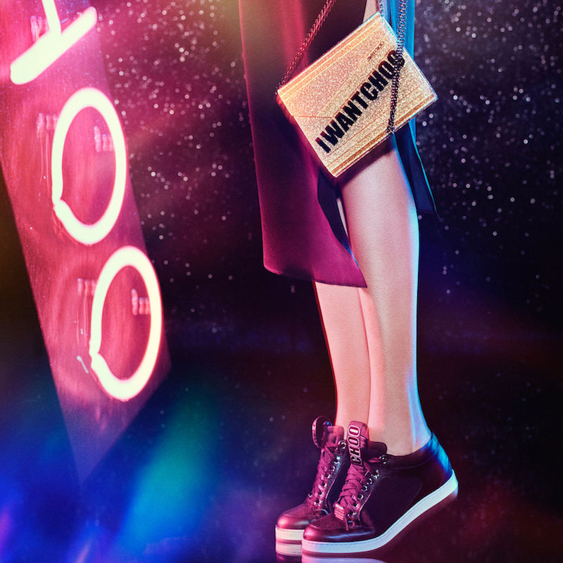 JIMMY CHOO Miami Black Canvas and Leather Sneakers with Logo Pull