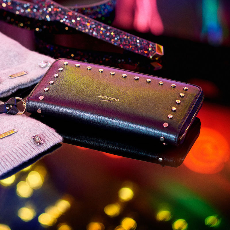 JIMMY CHOO Pippa Black Leather Zip Around Wallet with Round Studs