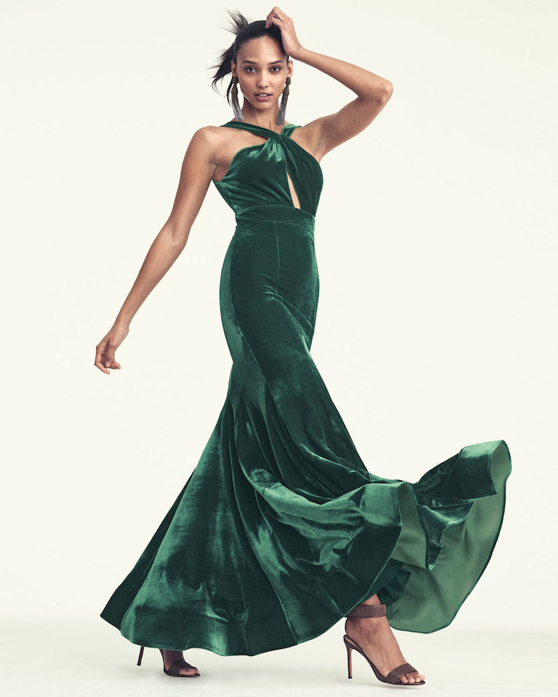 Jovani Velvet Halter Mermaid Gown