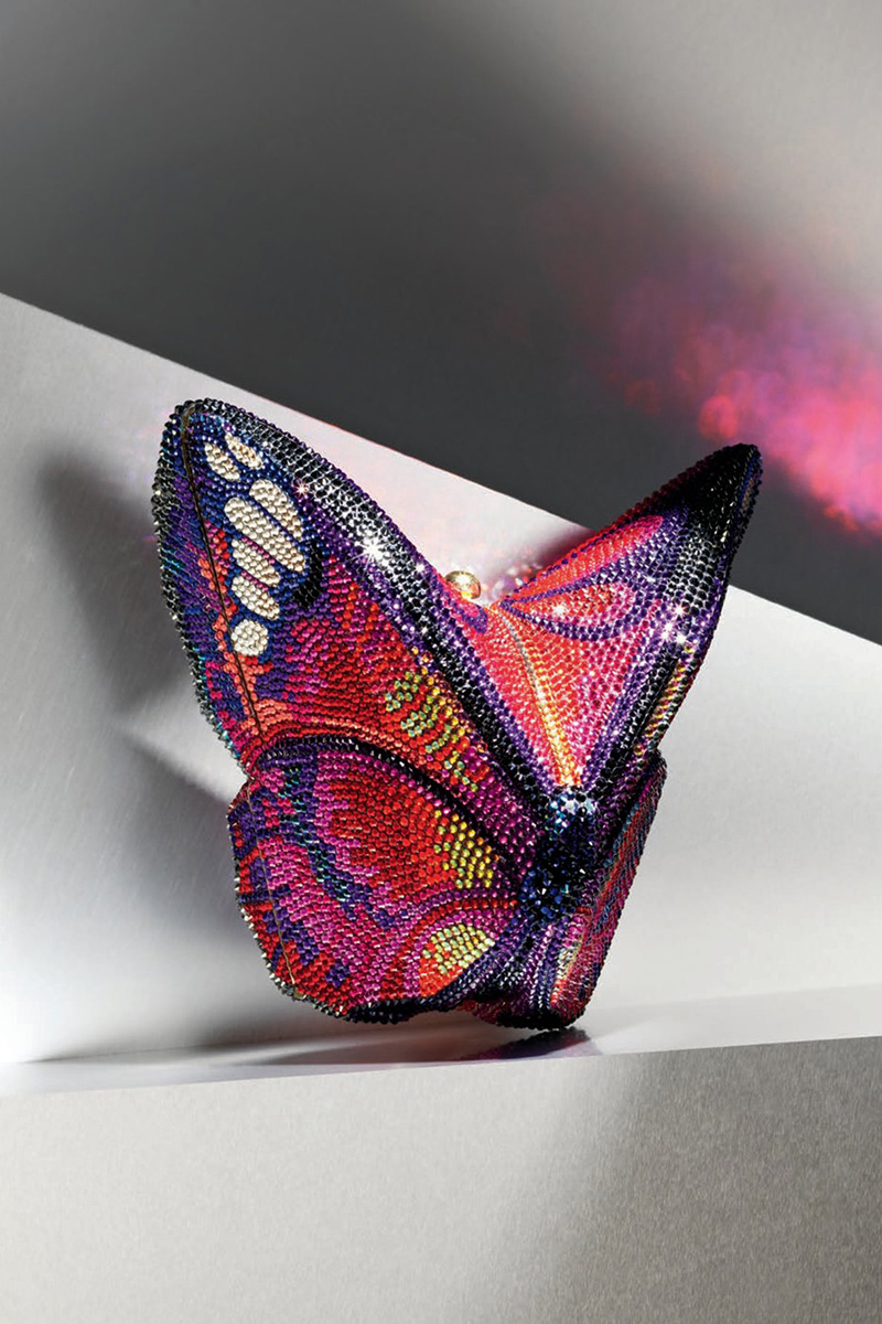 Judith Leiber Couture Crystal Emperor Butterfly Clutch Bag