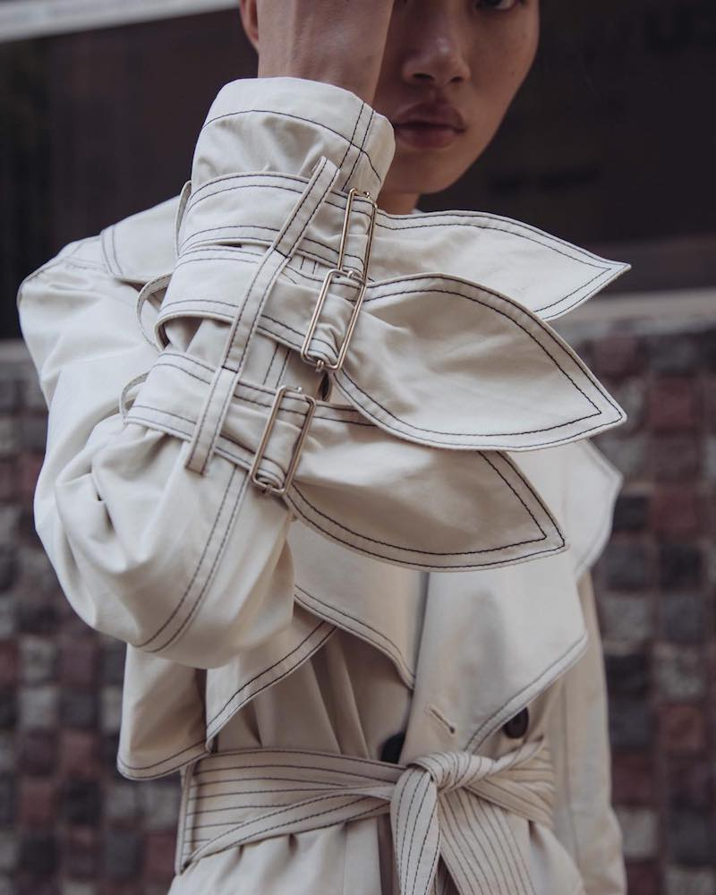 KIMHĒKIM Petal Belted Sleeves Trench
