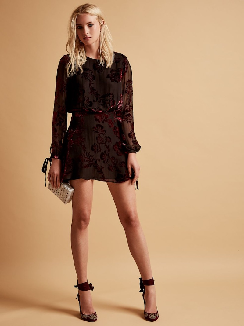 LPA Burnout Silk Mini Dress