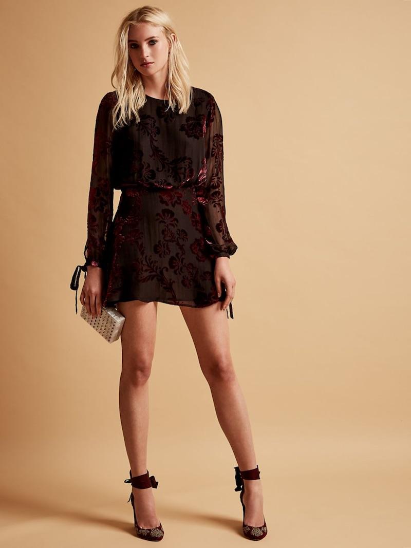 LPA Burnout Silk Mini Dress